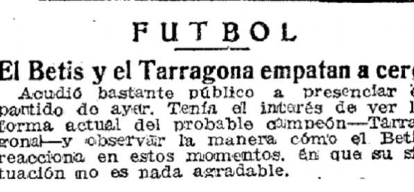 Hoy hace 73 años. Betis 0 Nastic 0.