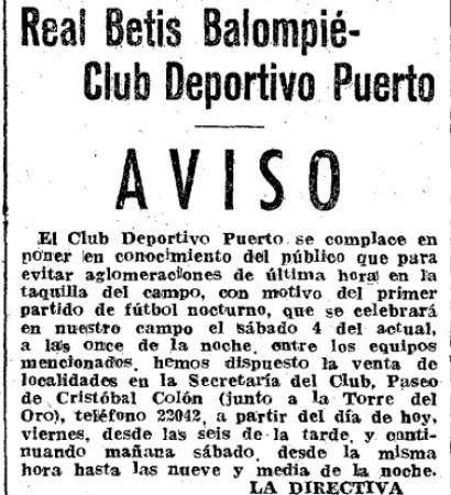 Hoy hace 68 años. El Betis disputa el primer partido nocturno jugado en Sevilla.