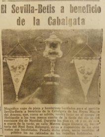 Copa y banderines del partido de la Cabalgata 1954
