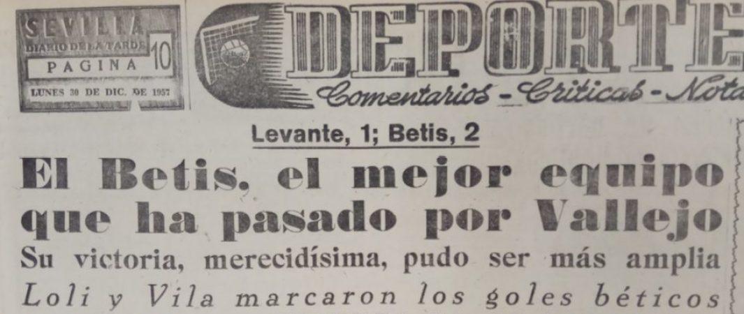 Hoy hace 63 años. Levante 1 Betis 2.