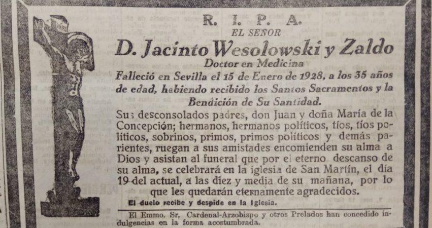 Hoy hace 93 años. Fallece Jacinto Wesolowski.