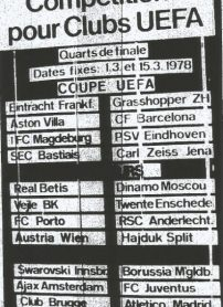 Hoy hace 42 años. Sorteo en Zurich de los cuartos de final de la Recopa.