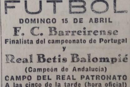 Anuncio Betis-Barreirense Amistoso 1928