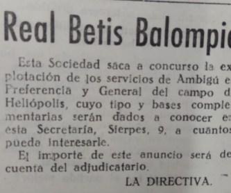 Anuncio del Ambigú de Heliópolis 1945