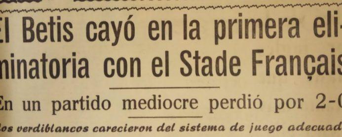 Hoy hace 55 años. Stade Français 2 Betis 0