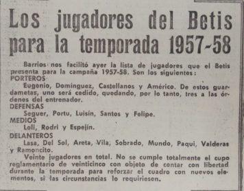 Los jugadores de la temporada 1957-58