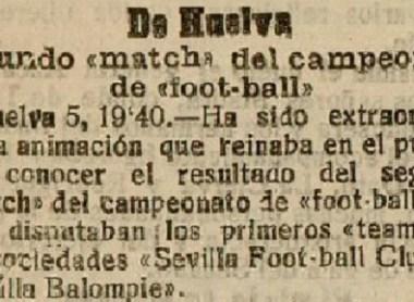 Hoy hace 110 años. Sevilla FC 0 Sevilla Balompié 0.