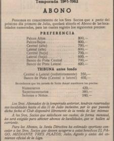 Abono temporada 1961-62