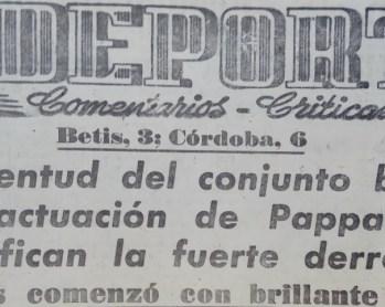 Hoy hace 60 años. Betis 3 Córdoba 6.
