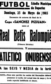 Hoy hace 55 años. Atl. Onubense 0 Betis 3.