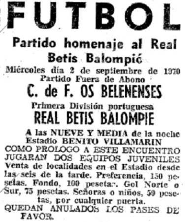 Hoy hace 50 años. Betis 3 Belenenses 0.