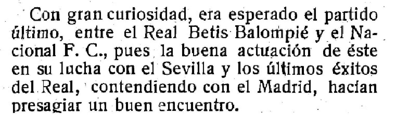 Hoy hace 100 años. Betis 2 Nacional 0.