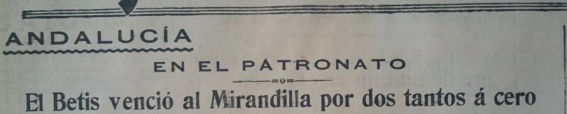 Hoy hace 85 años. Betis 2 Mirandilla 0.
