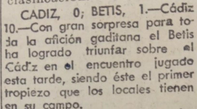Hoy hace 80 años. Cádiz 0 Betis 1.