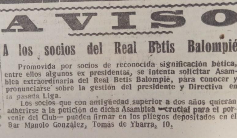 Aviso a los socios del Real Betis Balompié 1953.