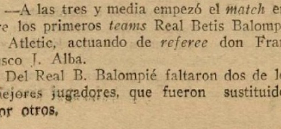 Hoy hace 105 años. Primer partido oficial del Real Betis Balompié.