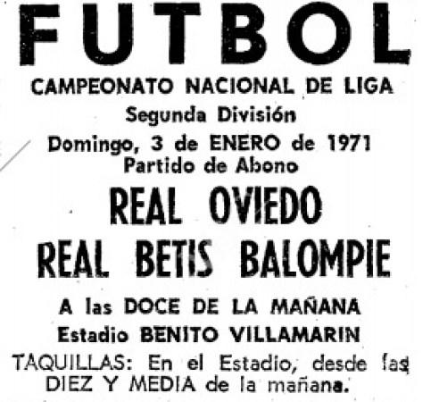 Hoy hace 50 años. Betis 1 Oviedo 0.