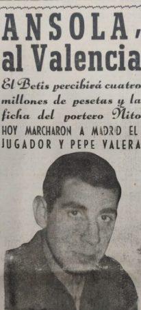 Hoy hace 55 años. Traspaso de Fernando Ansola.