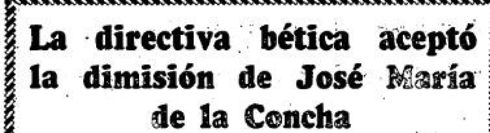 Hoy hace 50 años. Dimisión de José María De la Concha.