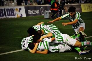 Celebración del gol de Molina (Real Betis 2-1 Girona)