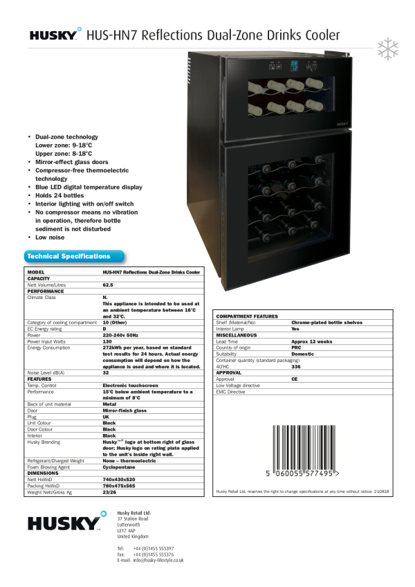Dual Zone 24 Bottle Capacity Drinks Cooler