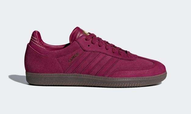 adidas Samba – Mystery Ruby Red / Gold