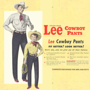 Vintage advertorial for LEE's cowboy jeans