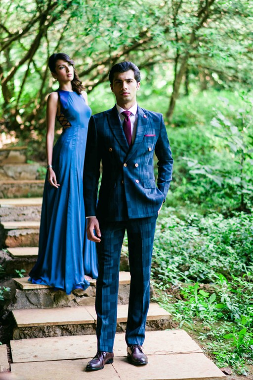 SS HOMME Block and Brick Printed Worsted Wool Navy Suit