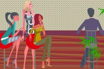 AD2C2K Three women looking at a man sitting at a bar counter