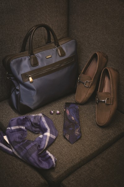 PAUL & SHARK Laptop bag with leather detailing; THOMAS PINK Purple cufflinks; ERMENEGILDO ZEGNA Dark brown leather loafers; PAUL SMITH Printed silk tie; BROOKS BROTHERS Checquered scarf