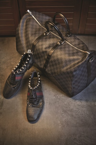 LOUIS VUITTON Damian checks duffel bag; GUCCI Weave leather black lace-up with studs