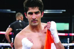 BOLTON, ENGLAND - MAY 13: Vijender Singh celebrates after victory over Andrzej Soldra in the International Middleweight Contest between Vijender Singh and Andrzej Soldraat Macron Stadium on May 14, 2016 in Bolton, England. (Photo by Alex Livesey/Getty Images)