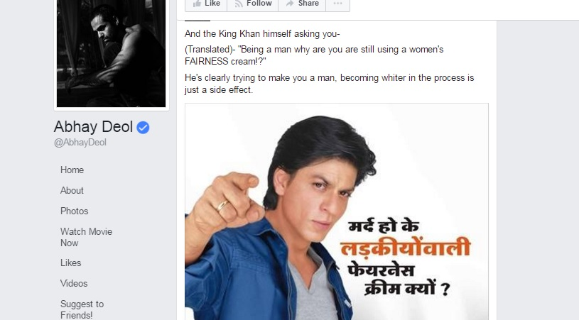 The Fairness Battle: Abhay Deol Just Bitchslapped Shah Rukh, Deepika And Many Other Bollywood Celebs