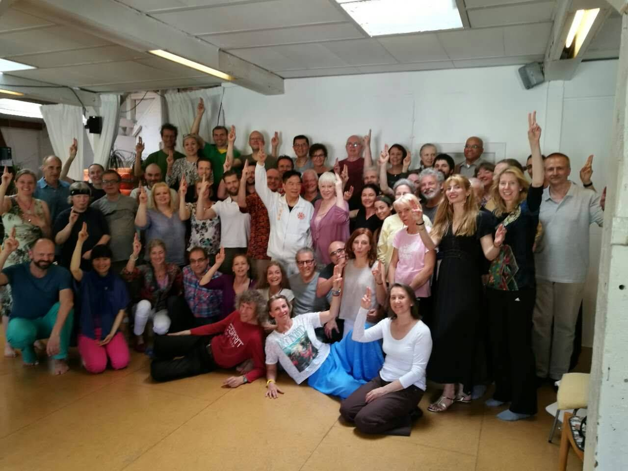 Students from European Spring 2017 workshop with Mantak Chia in Berlin, Germany