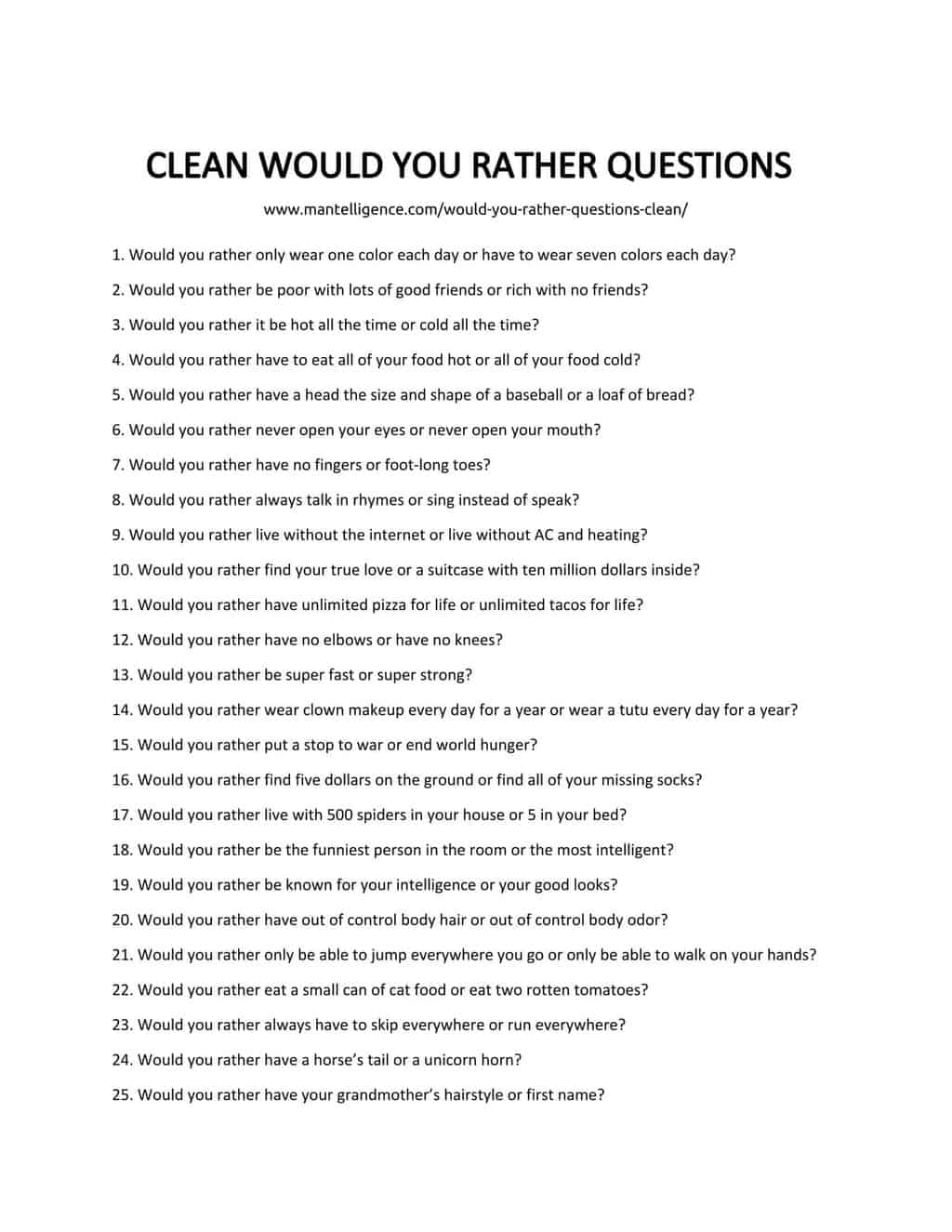 70 Would You Rather Questions Clean