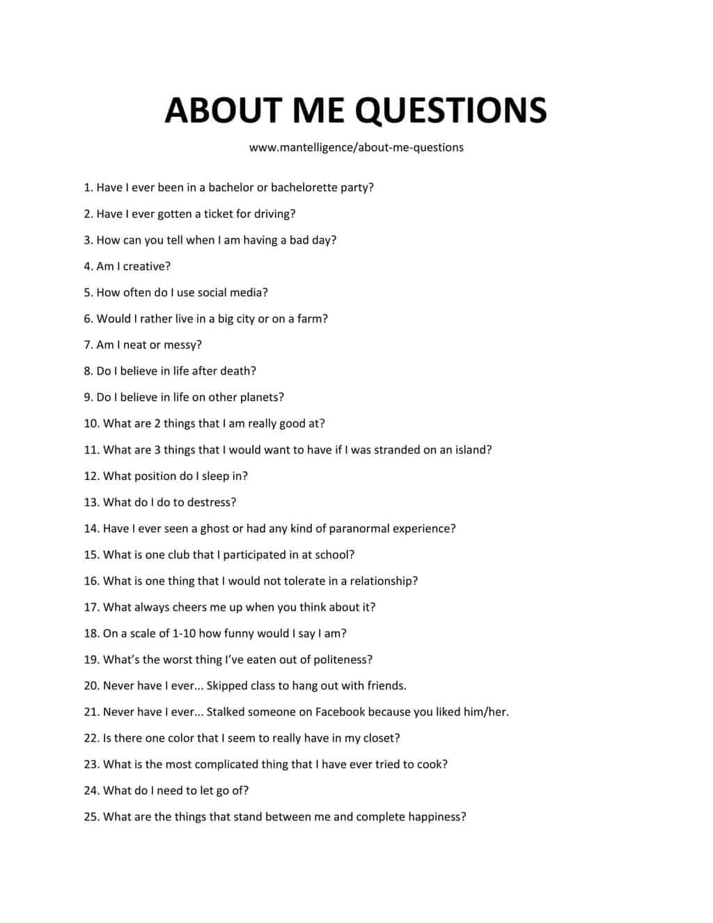 Name 3 Things Questions