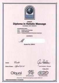 Holistic Massage- ITEC (UK) qualification of Maya Wang