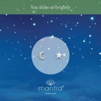 Moon & Star Stud Earrings | Gifts for Her | Mantra Jewellery