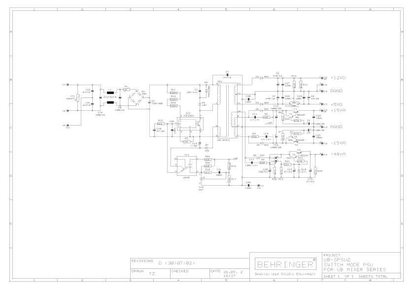 Сервисная инструкция Behringer UB-SPSU2 POWER SUPPLY UB