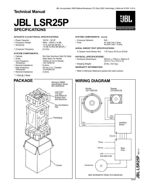Сервисная инструкция JBL LSR-25P ― Manual-Shop.ru