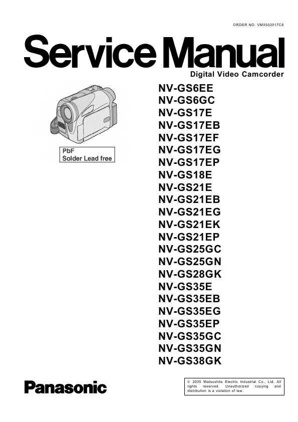 Сервисная инструкция Panasonic NV-GS6, NV-GS17, NV-GS18