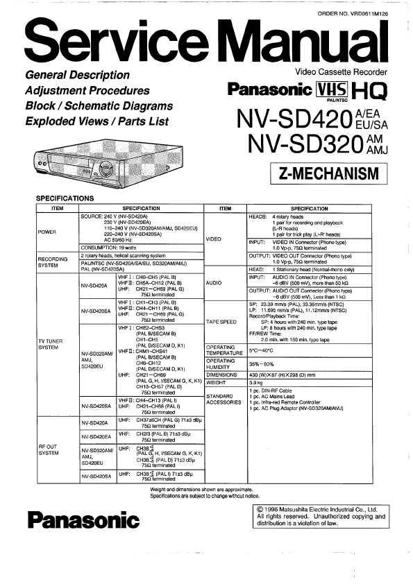 Сервисная инструкция Panasonic NV-SD320, NN-SD420EU