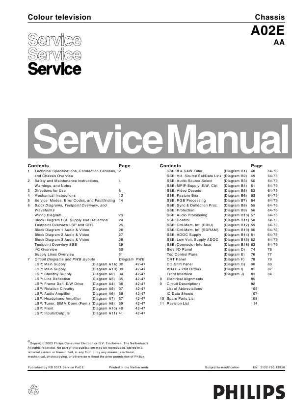 Сервисная инструкция Philips A02E chassis ― Manual-Shop.ru