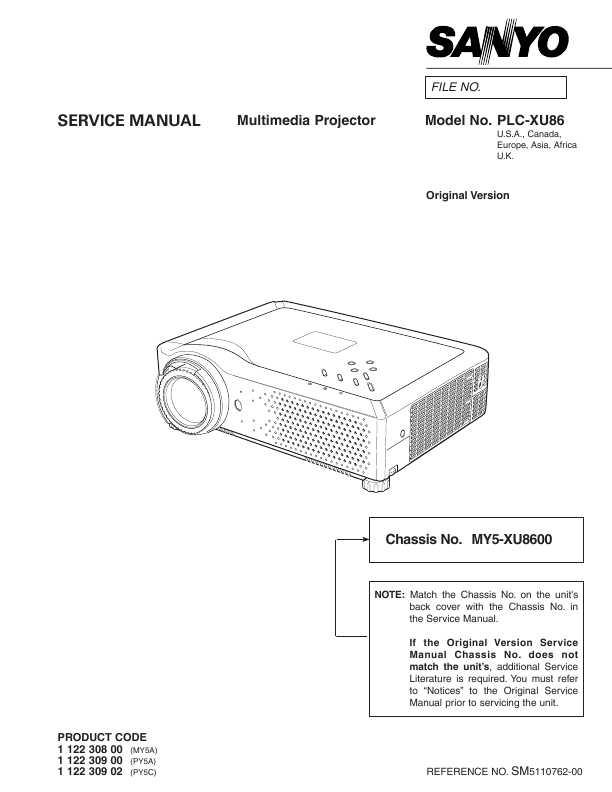 Сервисная инструкция Sanyo PLC-XU86 ― Manual-Shop.ru