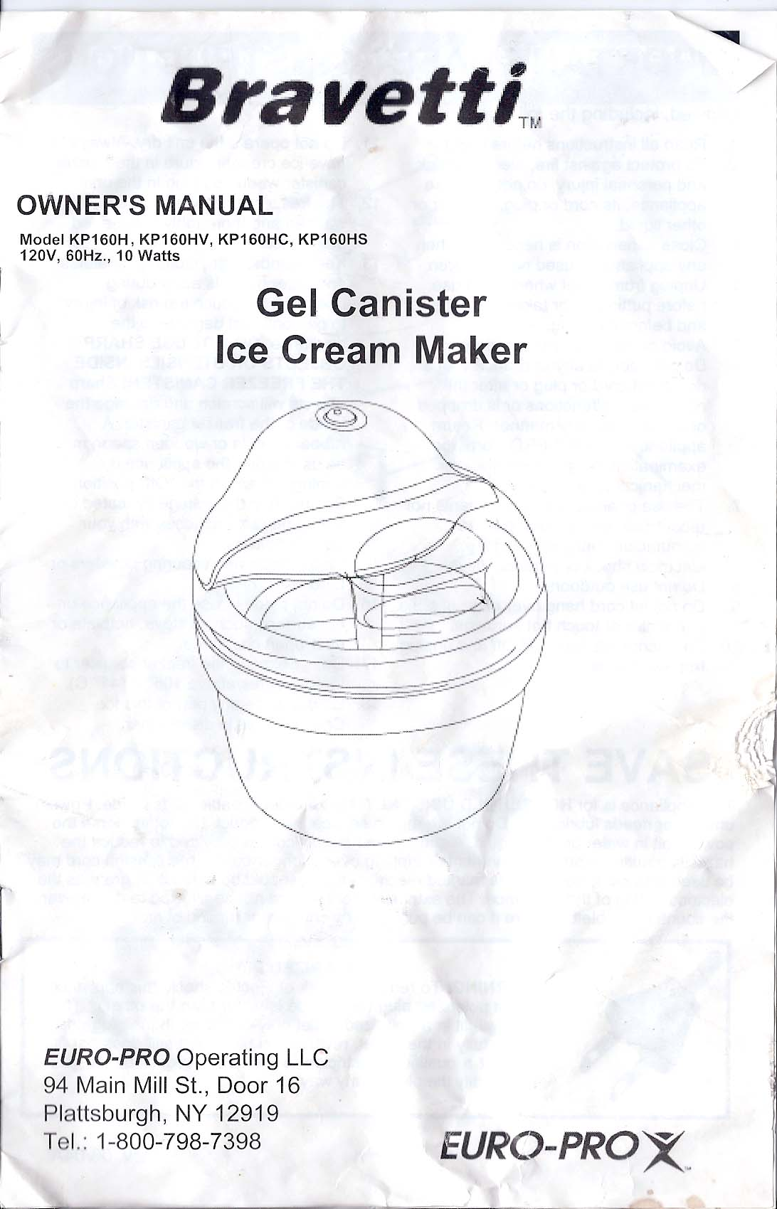 Bravetti Ice Cream Maker Instructions Booklet