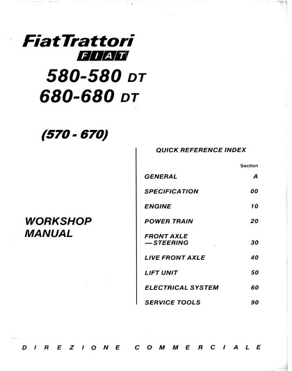 Fiat Trattori 570 580 580DT 670 680 680DT Tractor Workshop