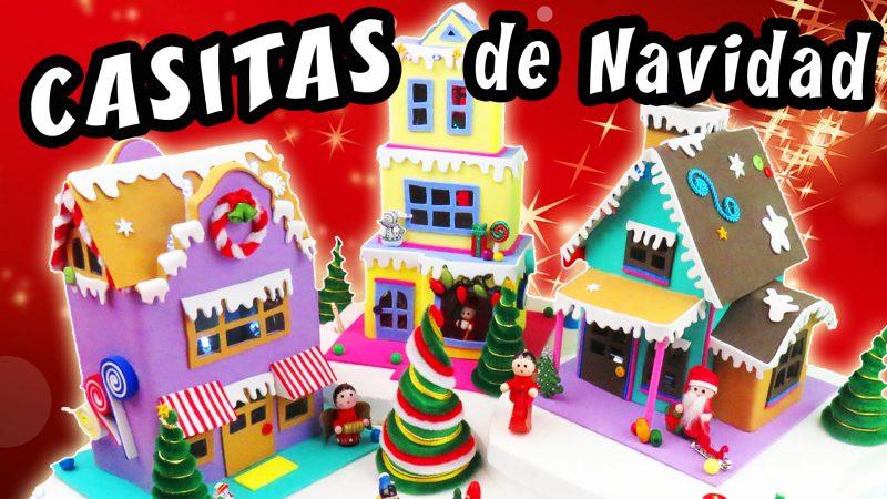 Casitas de navidad con cart n y foamy manualidades apasos - Casitas de navidad ...