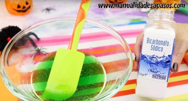 como hacer slime con bicarbonato de sodio