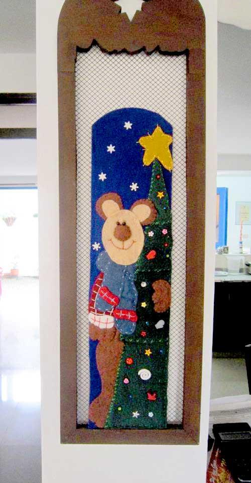 cuadro navideño hecho con fleece o polar