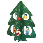 Papercraft imprimible y armable de un mini árbol pop de Navidad. Manualidades a Raudales.